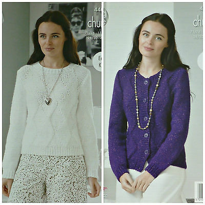 KNITTING PATTERN Ladies Easy Knit LongSleeve Diamond Jumper Cardigan Chunky 4404