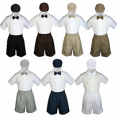4pc Baby Boy Toddler Formal Shorts Suit Dark Khaki Brown Navy Black Bow Tie S-4T