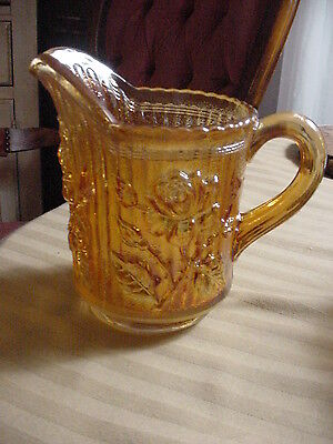 "Imperial Marigold Carnival Glass Lustre Rose.. 5.5"" Tall Milk Cream Pitcher Ig"