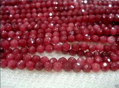 4MM 15inches Natural Brazilian Ruby Faceted Round Loose Beads Gemstone