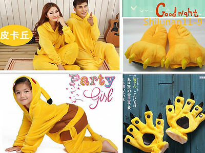 Unisex Adult Kids Pajamas Kigurumi Cosplay Dress Animal ONESIS Sleepwear Pikachu