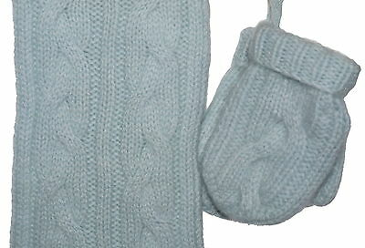 Marie Chantal 100% Cashmere Scarf and Mittens Size Small 6-12 Months NWT Blue