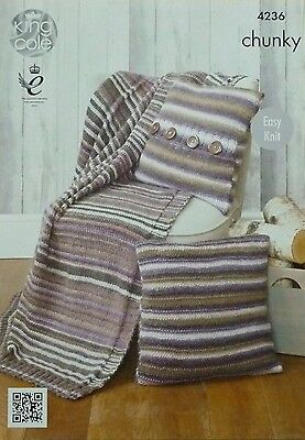 KNITTING PATTERN Easy Knit Blanket/Throw and Cushions (Pillows) Chunky KC 4236