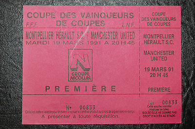 Unused Ticket Montpellier V Manchester United 1990/91  European Cup Winners Cup
