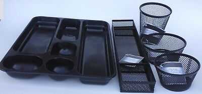OFFICE DESK TRAY CUP ORGANIZERS Steel Mesh Plastic Black Silver, SELECT: Type