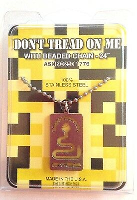 """GI JEWELRY, Official US Military DON""""T TREAD ON ME,  Necklace Non-Reactive Steel"""
