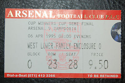Ticket Arsenal V Sampdoria 1995 Semi-Final  European Cup Winners Cup