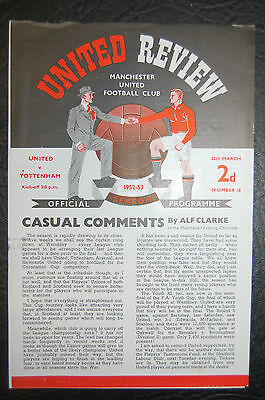 Manchester United V  Tottenham Hotspur 1952/53 4-Page Very Rare Programme