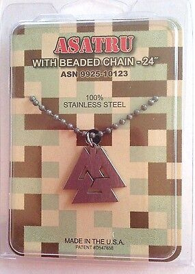 GI JEWELRY, Official US Military, ASATRU - Necklace Non-Reactive Steel