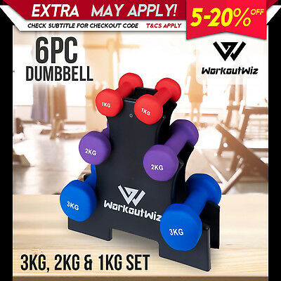 NEW WORKOUT WIZ Dumbbells Rack Set Womens GYM Fitness Strength dumbells Weights