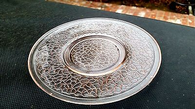 """Pink CRACKLE GLASS 6"""" Sherbet / Pie / Bread Plate"""