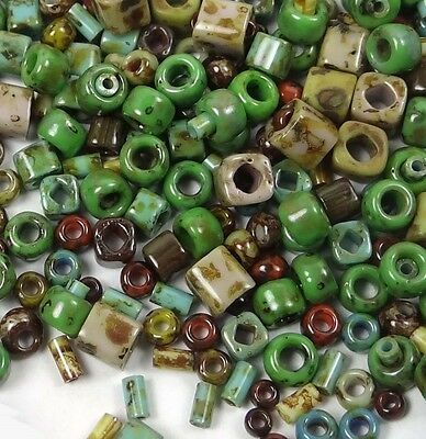 TOHO Fancy Hybrid Mix Glass Seed Beads Various Shapes Opaque Picasso 10g