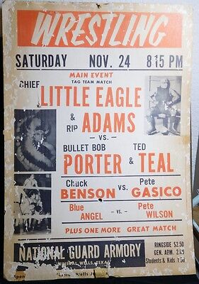 Vtg 1950s MINERAL WELLS TEXAS Wrestling Poster Fight Card LITTLE EAGLE RIP ADAMS