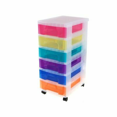 Really Useful Plastic Drawer Storage Unit 6X7 Litre Clear/Rainbow