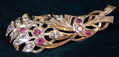 Atq LARGE Victorian Floral Flower RUBY 18K GOLD Pin Brooch HALLMARKED