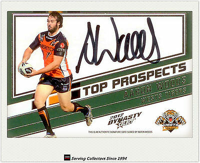 2012 Select NRL Dynasty Top Prospect Signature Card TP16 Aaron Woods (Tigers)