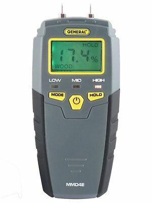 General Tools MMD4E Moisture Meter, Pin Type, Digital LCD concrete drywall Grays