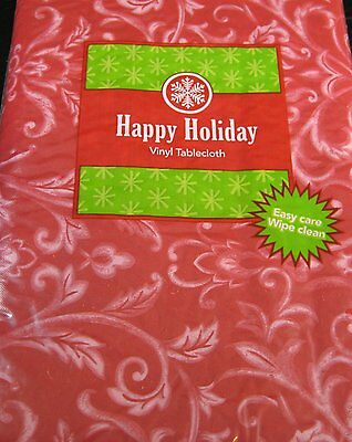 Happy Holiday Red Swirl Flannel Back Vinyl Tablecloths Assorted Sizes &XL Sizes