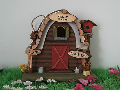 Large Fairy Farm Wooden Hand Made - Unusual Piece New And Boxed