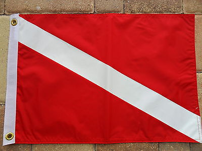 """12""""x18""""nautical: Diver Down Boat/yacht Flag Double Sided Nylon"""