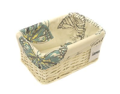 Small White Wicker Storage Basket With Cloth Lining Butterfly-9364-Small-BT