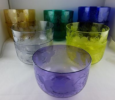 11 Antique Crystal Glass Finger Bowls Engraved Grapes Pairpoint (?) Asst Colors