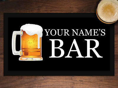 PERSONALISED with any name BAR MAT BEER RUNNER Your Name Here