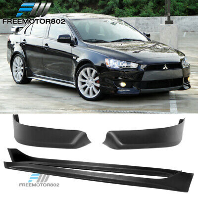For 08-15 Mitsubishi Lancer OE Style Front Bumper Lip & Side Skirts PP