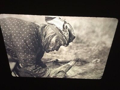 "Edward Curtis ""Fleshing A Hide"" Blackfoot Native American photography 35mm slide"