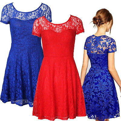 Fashion Casual Women Floral Lace Short Sleeve Cocktail Evening Party Mini Dress