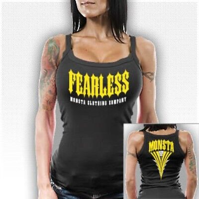 NEW Women's Monsta Clothing FEARLESS Workout Gym Racerback Tank Top: Black