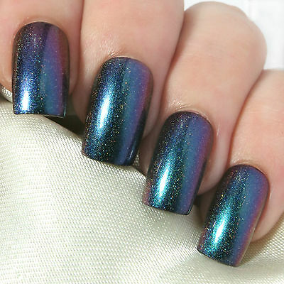 Hand Painted Full False Nails - Oil Slick Holo Multichrome Press On Fake Nails