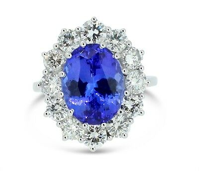 Huge Tanzanite and Diamond Cluster Ring 2.25ct + 5.15ct 18CT White Gold