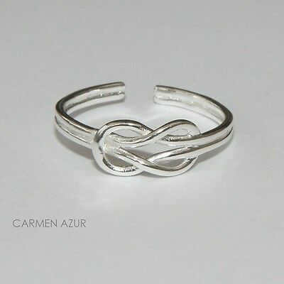 Solid 925 Sterling Silver Toe / Midi Ring Knot Design New  Gift Bag Free UK P&P