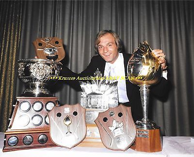 GUY LAFLEUR Poses w/HART~ART ROSS~CONN SMYTHE Trophies 8x10 CANADIENS HOF GREAT