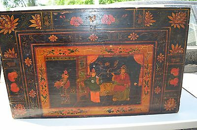 Chinese antique 18th-19th Century wood chest and paint