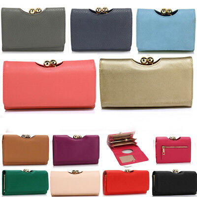 Ladies Kisslock Fashion Desinger Faux Leather Purses Wallet Coin Clutch Bags