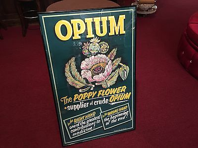 "1954 NOS Large 42"" x 26"" OPIUM ""Poppy Flower""  RX Framed Drug Store Ad"