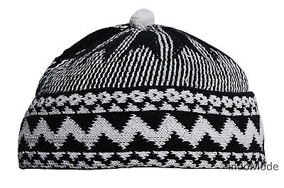 Indigo Blue Cotton Blend Zigzag Beanie Kufi Hat with Ball on Top One-size Mens