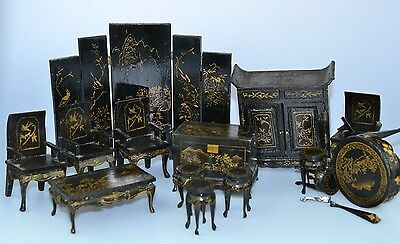 Vtg Black & Gold Chinoiserie Miniature Dollhouse Wood Screen Chairs Tables Set