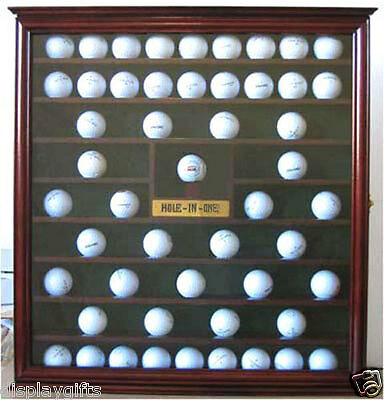 Golf Ball Display Case Wall Cabinet with Hole in One plate, Mahogany GB07-MAH