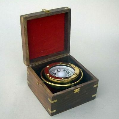 Brass Gimball Compass Boxed ~ Nautical Compass ~ Maritime ~ Pirate ~ Compass