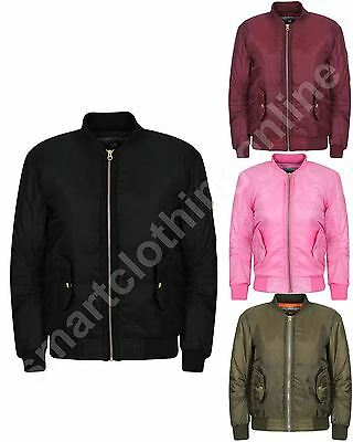 New Kids Girls Ma1 Bomber Jacket With Pockets 3-16 Years
