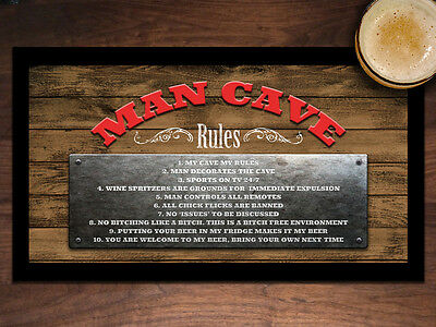 BAR RULES BEER MAT BAR RUNNER Man Cave