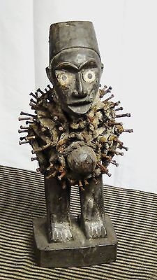 ANTIQUE 19c AFRICAN TRIBAL NKISI KONGO PEOPLE,DR CONGO FETISH POWER FIGURE