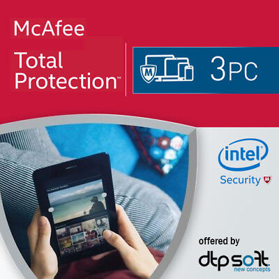 McAfee Total Protection 2018 3 PC's 12 Months License Antivirus 2017 3 user'su