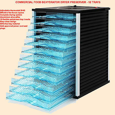 Commercial Food Dehydrator Dryer Preserver - 12 Trays