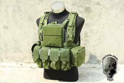 TMC Tactical Military RRV Plate Carrier Chest Rig Vest with 5 pouch set OD Green