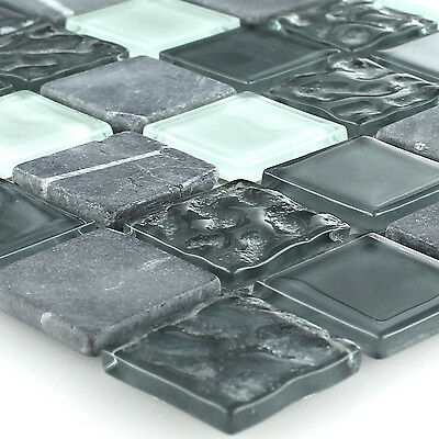Self Adhesive Natural Stone Glass Mosaic Tiles Grey