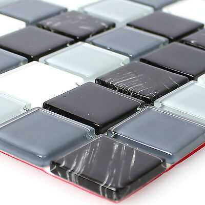 Self Adhesive Glass Mosaic Tiles Black Grey